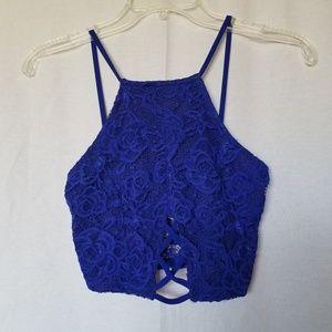 A'gaci blue lace bralette w/crisscross detail S.